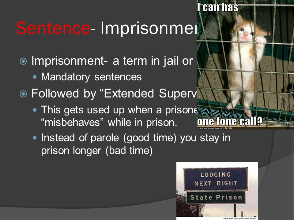 Sentence- Imprisonment  Imprisonment- a term in jail or prison Mandatory sentences  Followed by Extended Supervision This gets used up when a prisoner misbehaves while in prison.