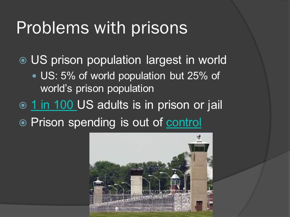 Problems with prisons  US prison population largest in world US: 5% of world population but 25% of world's prison population  1 in 100 US adults is in prison or jail 1 in 100  Prison spending is out of controlcontrol