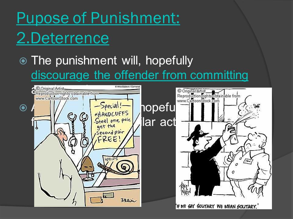 Pupose of Punishment: 2.Deterrence TThe punishment will, hopefully discourage the offender from committing another crime.