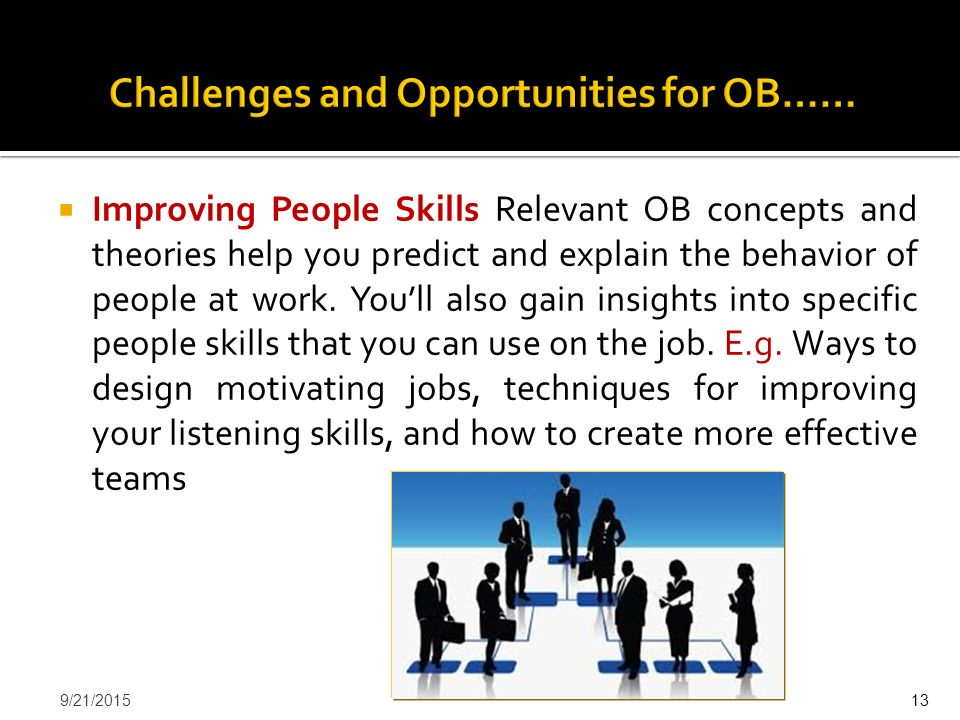  Improving People Skills Relevant OB concepts and theories help you predict and explain the behavior of people at work. You'll also gain insights int