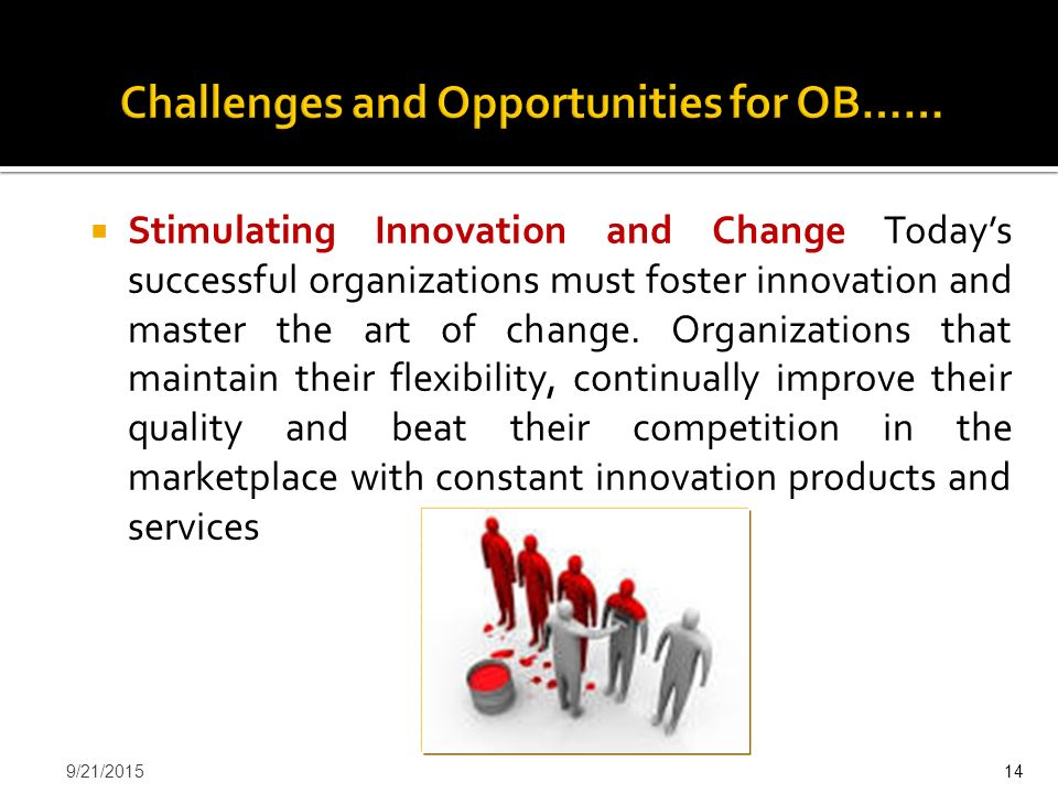  Stimulating Innovation and Change Today's successful organizations must foster innovation and master the art of change. Organizations that maintain