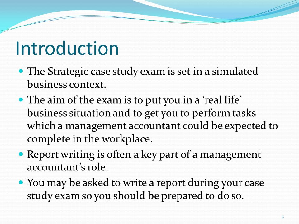 Introduction of a case study