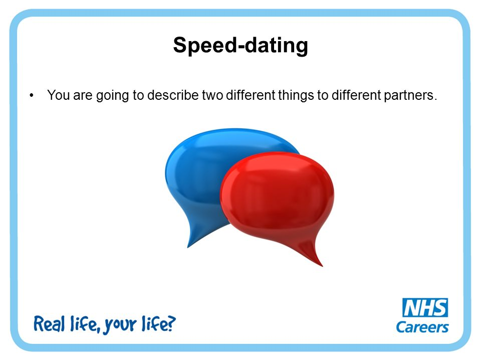 Speed-dating You are going to describe two different things to different partners.
