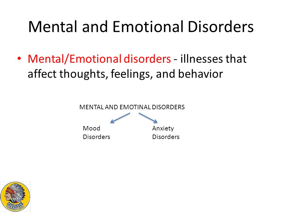 Mental and Emotional Disorders Mental/Emotional disorders - illnesses that affect thoughts, feelings, and behavior MENTAL AND EMOTINAL DISORDERS Mood Disorders Anxiety Disorders