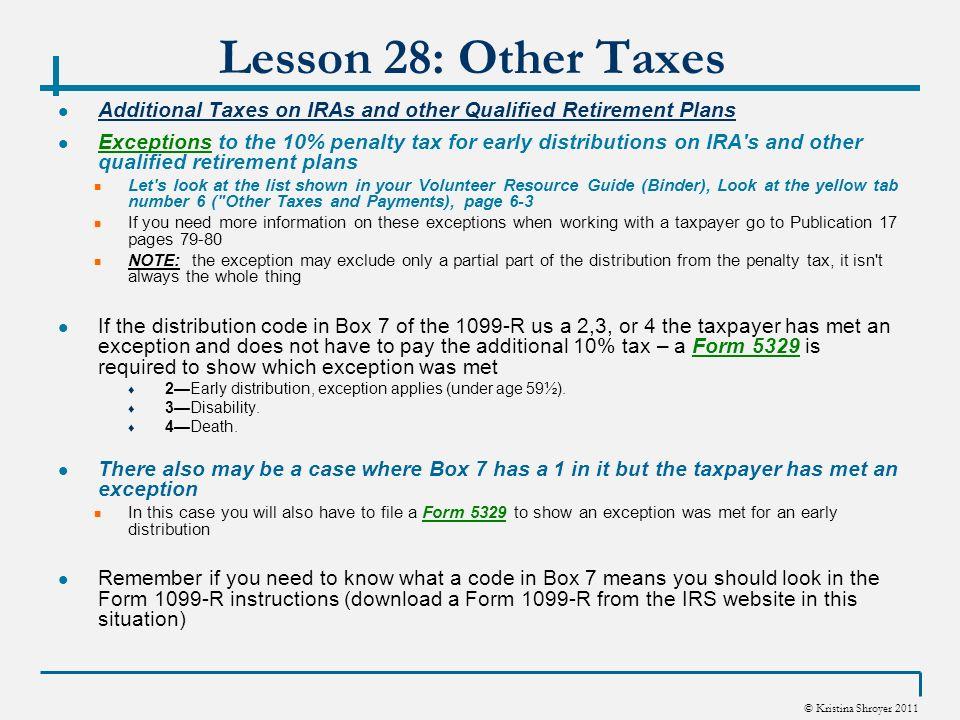 Kristina Shroyer 2011 Vita Winter 2011 Lesson 28 Other Taxes