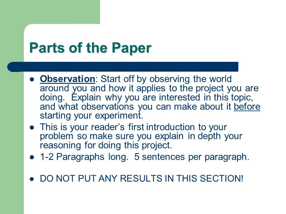 How To Write A Research Paper For Science Fair