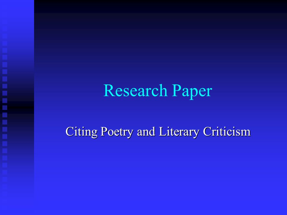 research paper critique Educational research review is a international journal aimed at researchers and various agencies interested to review studies in education and • forum papers.