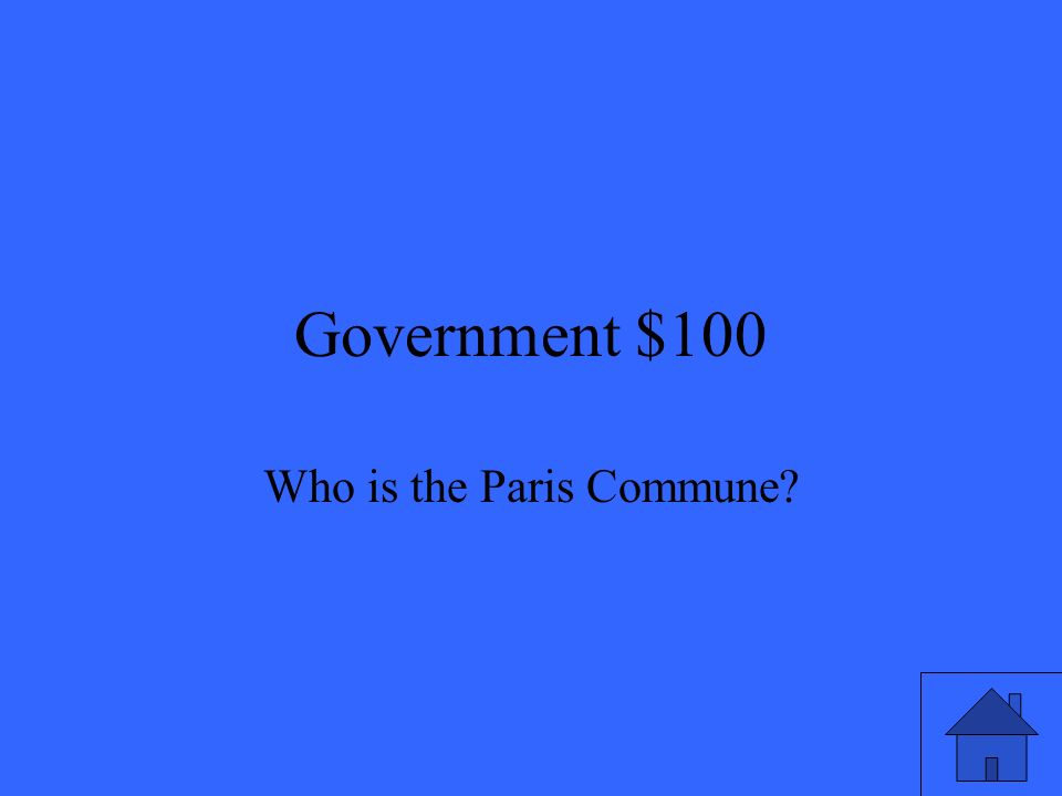 Government $100 Who is the Paris Commune