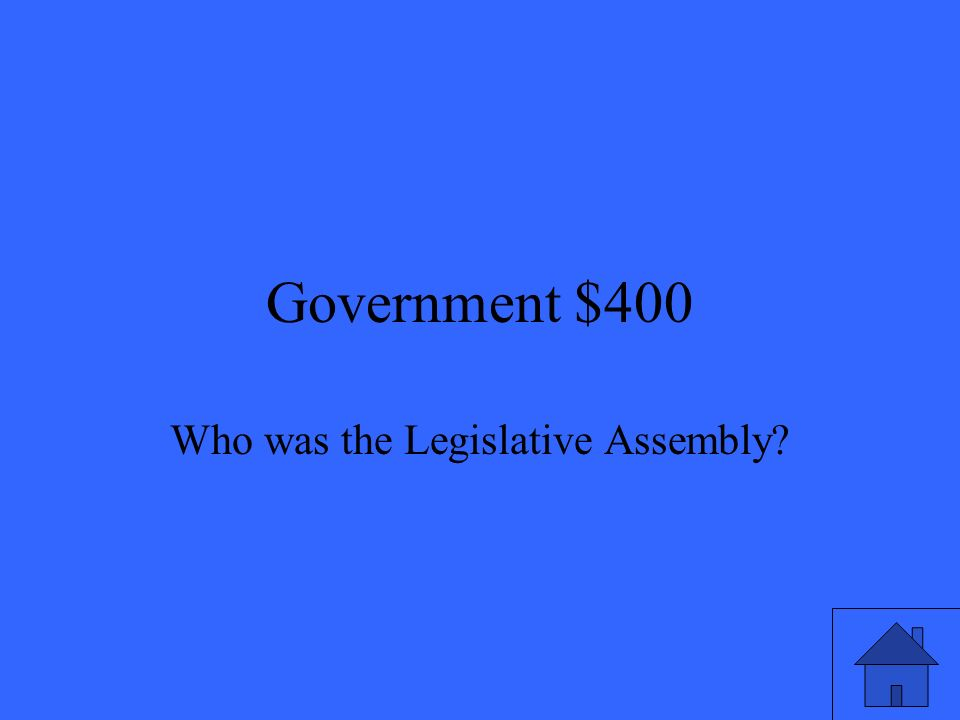 Government $400 Who was the Legislative Assembly