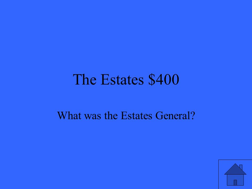 The Estates $400 What was the Estates General