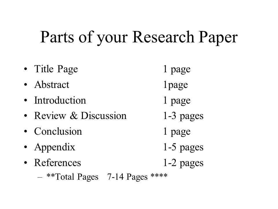 Parts to a research paper