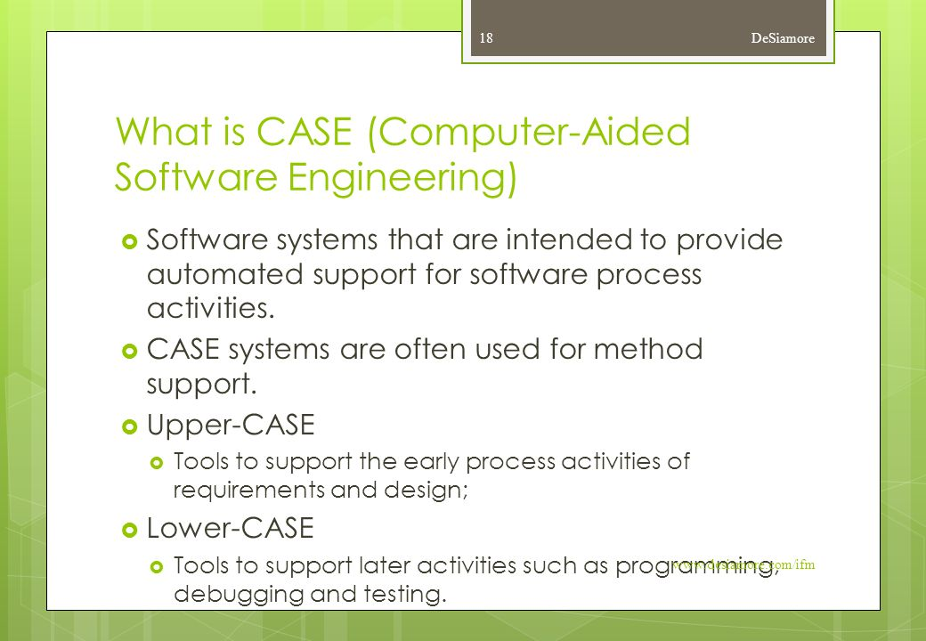 What is CASE (Computer-Aided Software Engineering)  Software systems that are intended to provide automated support for software process activities.