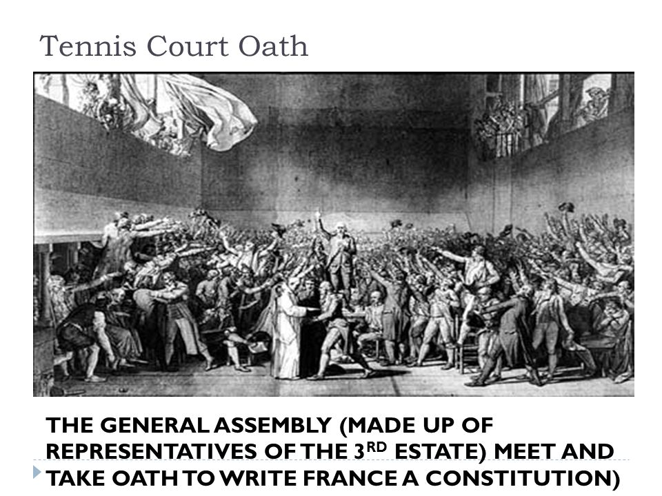 Tennis Court Oath THE GENERAL ASSEMBLY (MADE UP OF REPRESENTATIVES OF THE 3 RD ESTATE) MEET AND TAKE OATH TO WRITE FRANCE A CONSTITUTION)