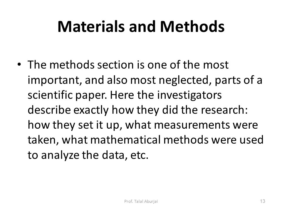 How to write the methods section of a research paper - NCBI