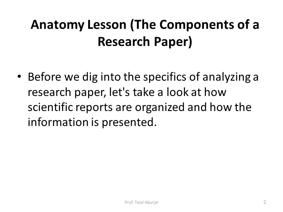 components to a research paper When preparing a research study for publication, there are several standard sections that should be included an empirical study article should include an abstract, an introduction, a discussion of the methodology employed, a statement of the results, a conclusion, and a list of references.