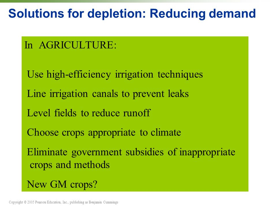 Copyright © 2005 Pearson Education, Inc., publishing as Benjamin Cummings Solutions for depletion: Reducing demand In AGRICULTURE: Use high-efficiency irrigation techniques Line irrigation canals to prevent leaks Level fields to reduce runoff Choose crops appropriate to climate Eliminate government subsidies of inappropriate crops and methods New GM crops