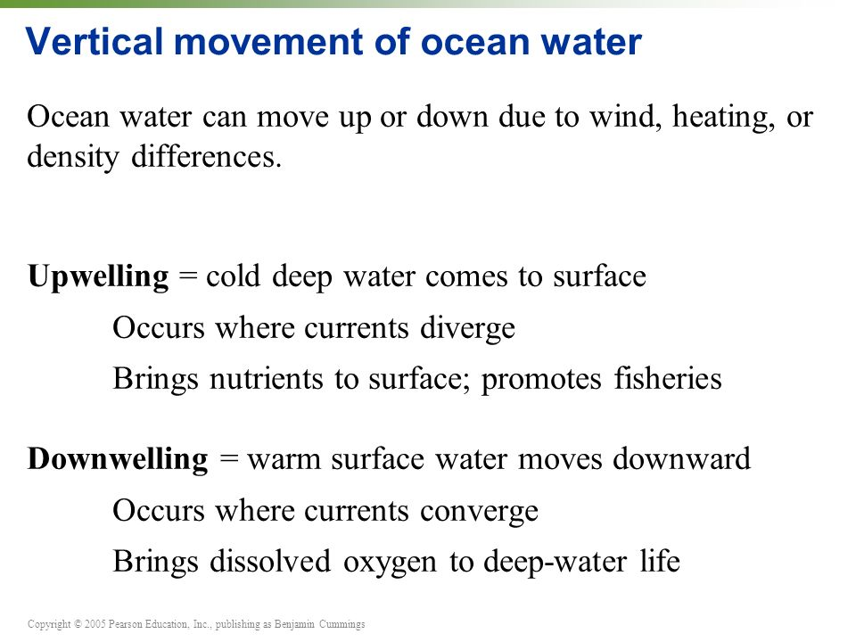 Copyright © 2005 Pearson Education, Inc., publishing as Benjamin Cummings Vertical movement of ocean water Ocean water can move up or down due to wind, heating, or density differences.
