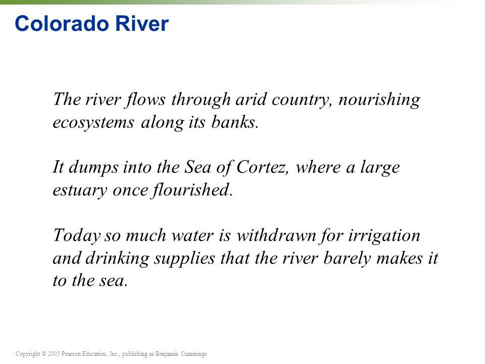 Copyright © 2005 Pearson Education, Inc., publishing as Benjamin Cummings Colorado River The river flows through arid country, nourishing ecosystems along its banks.