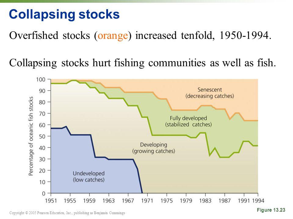 Copyright © 2005 Pearson Education, Inc., publishing as Benjamin Cummings Collapsing stocks Overfished stocks (orange) increased tenfold, 1950-1994.