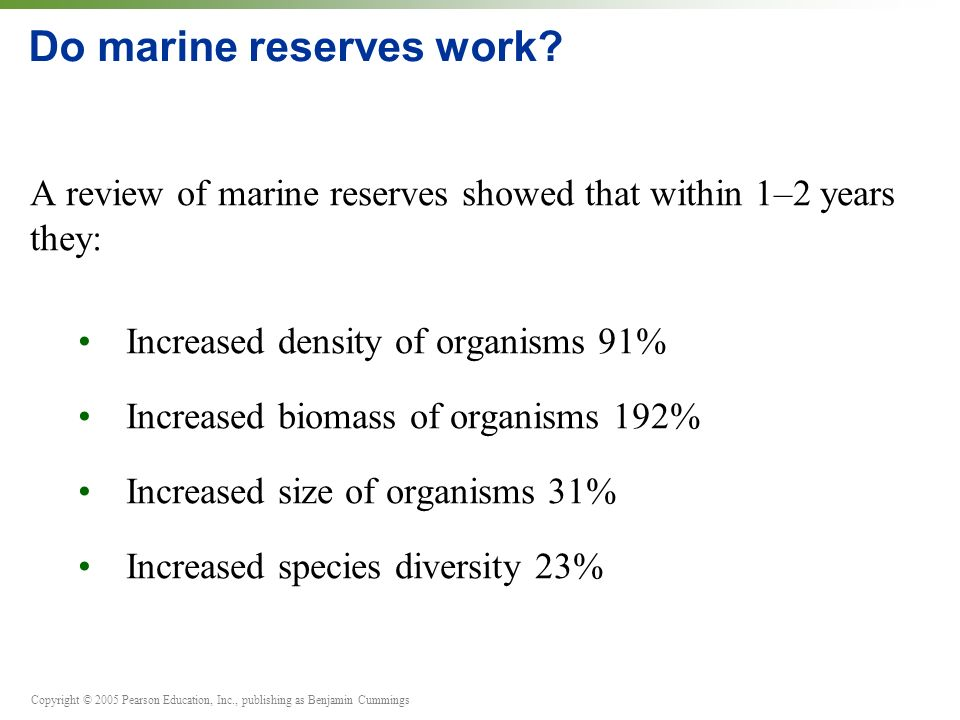 Copyright © 2005 Pearson Education, Inc., publishing as Benjamin Cummings Do marine reserves work.