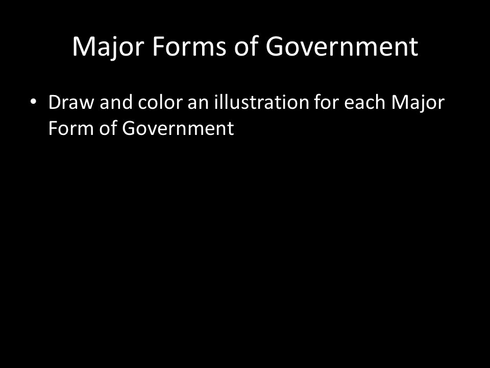 Major Forms of Government Draw and color an illustration for each Major Form of Government