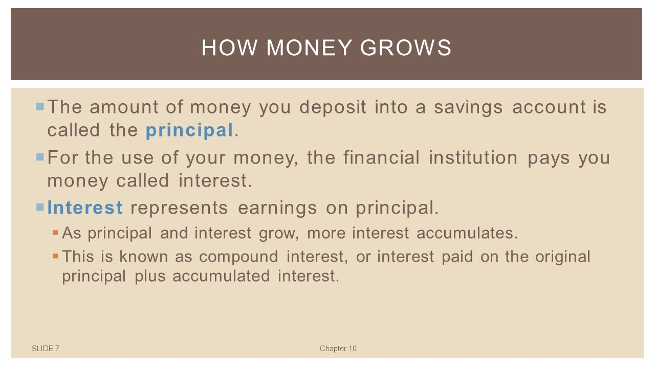 SLIDE 7Chapter 10 HOW MONEY GROWS  The amount of money you deposit into a savings account is called the principal.