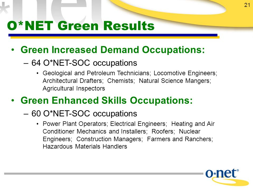 21 O*NET Green Results Green Increased Demand Occupations: –64 O*NET-SOC occupations Geological and Petroleum Technicians; Locomotive Engineers; Architectural Drafters; Chemists; Natural Science Mangers; Agricultural Inspectors Green Enhanced Skills Occupations: –60 O*NET-SOC occupations Power Plant Operators; Electrical Engineers; Heating and Air Conditioner Mechanics and Installers; Roofers; Nuclear Engineers; Construction Managers; Farmers and Ranchers; Hazardous Materials Handlers