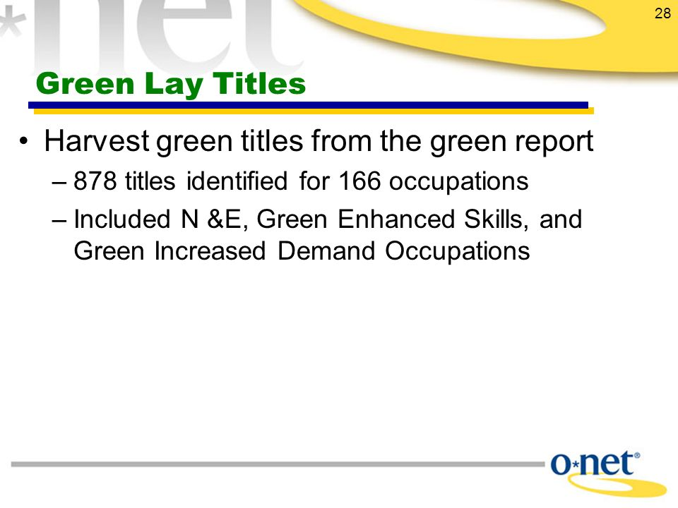 28 Green Lay Titles Harvest green titles from the green report –878 titles identified for 166 occupations –Included N &E, Green Enhanced Skills, and Green Increased Demand Occupations
