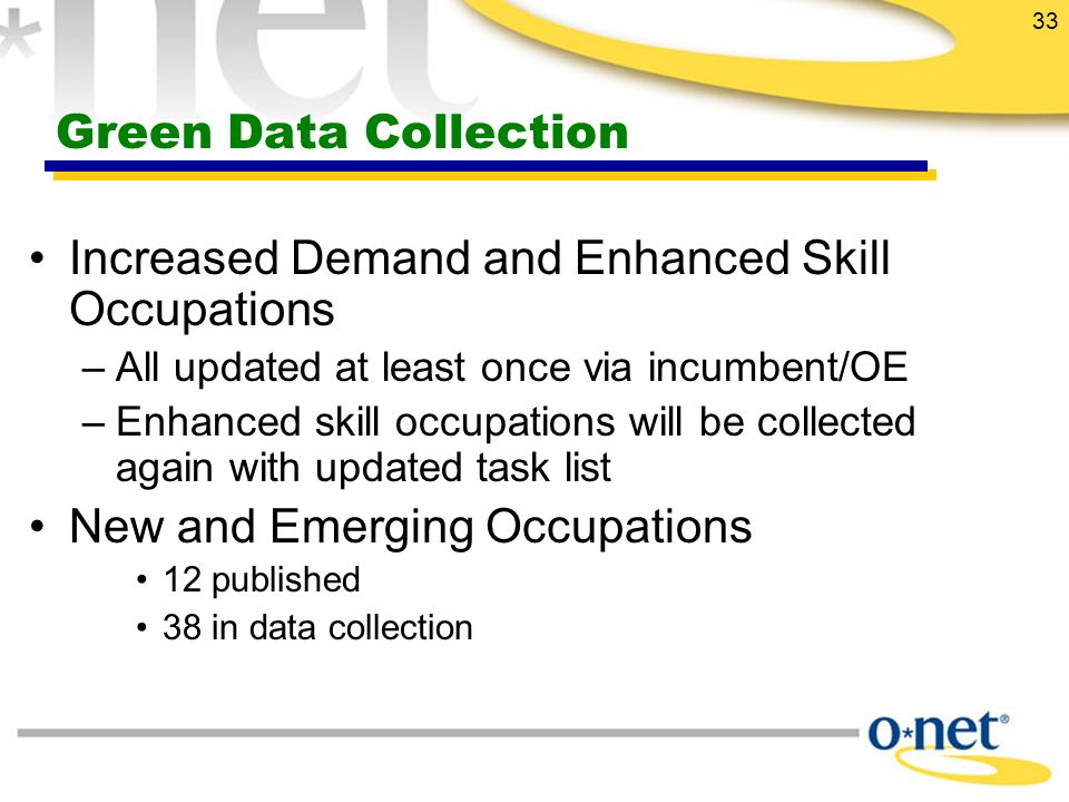 33 Green Data Collection Increased Demand and Enhanced Skill Occupations –All updated at least once via incumbent/OE –Enhanced skill occupations will be collected again with updated task list New and Emerging Occupations 12 published 38 in data collection