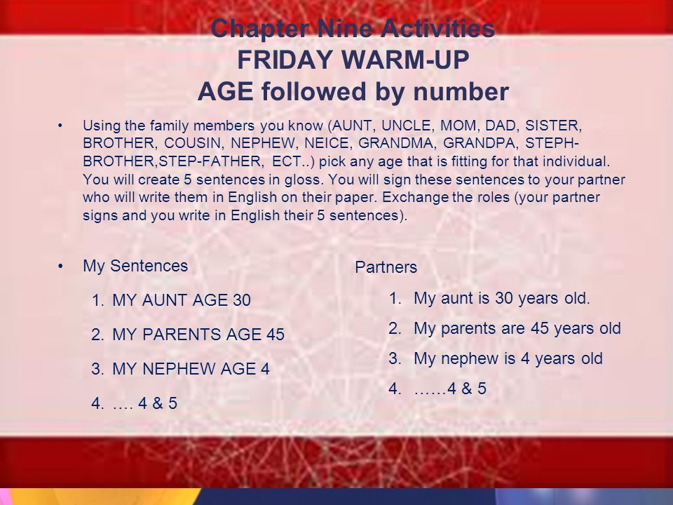 Chapter Nine Activities FRIDAY WARM-UP AGE followed by number Using the family members you know (AUNT, UNCLE, MOM, DAD, SISTER, BROTHER, COUSIN, NEPHEW, NEICE, GRANDMA, GRANDPA, STEPH- BROTHER,STEP-FATHER, ECT..) pick any age that is fitting for that individual.