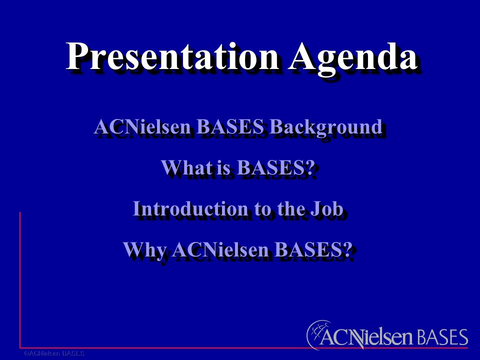 ACNielsen BASES Background What is BASES. Introduction to the Job Why ACNielsen BASES.