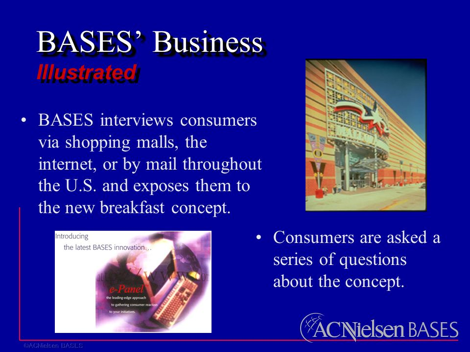 BASES' Business BASES' Business Illustrated BASES interviews consumers via shopping malls, the internet, or by mail throughout the U.S.