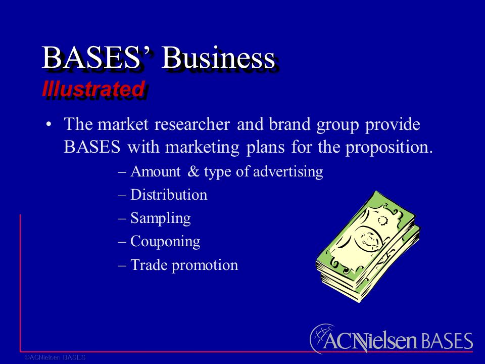BASES' Business BASES' Business Illustrated The market researcher and brand group provide BASES with marketing plans for the proposition.