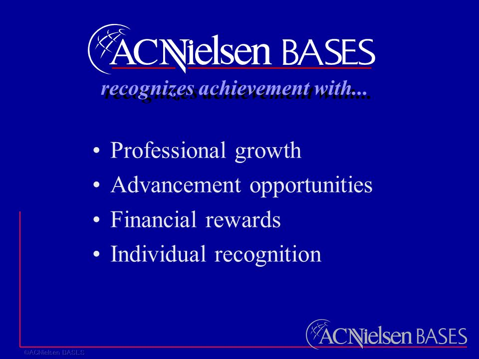 Professional growth Advancement opportunities Financial rewards Individual recognition recognizes achievement with...