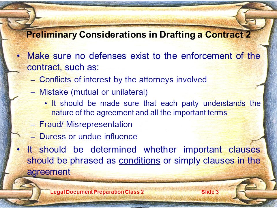 Legal Document Preparation Class 2Slide 1 Elements Of A Contract