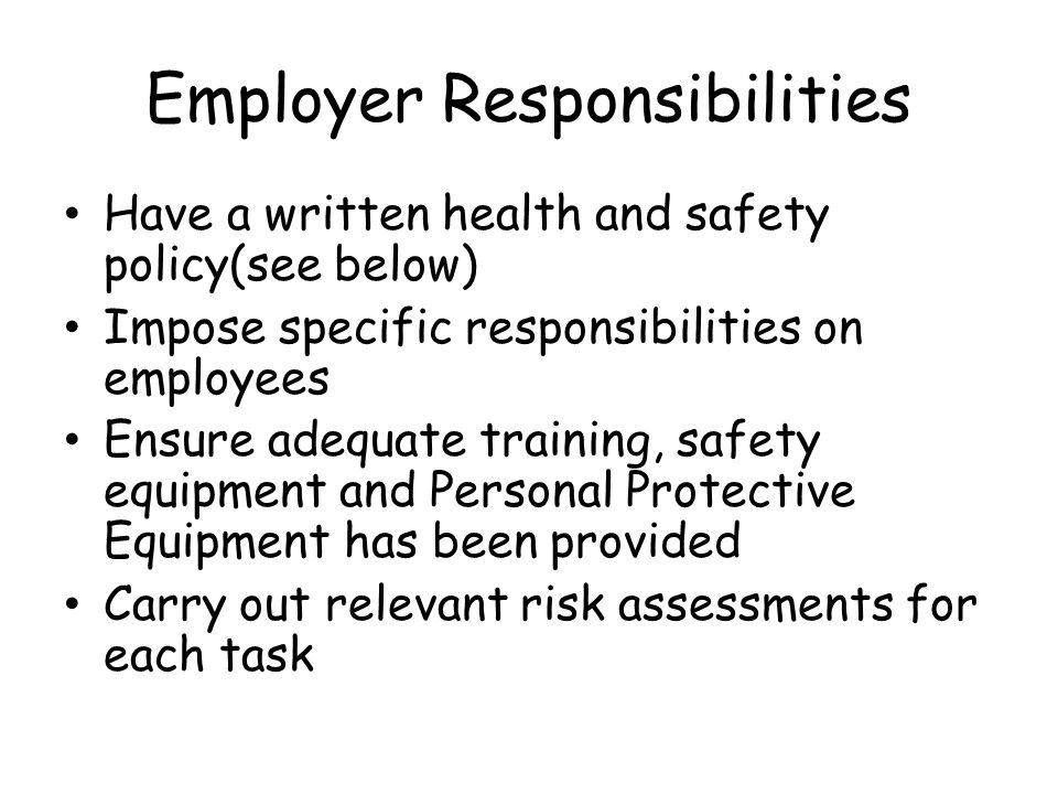 5 6 describe employers responsibilities regarding the use of ppe The principles of infection prevention 55 -describe employees' responsibilities regarding the use of ppe 56 -describe employers' responsibilities.