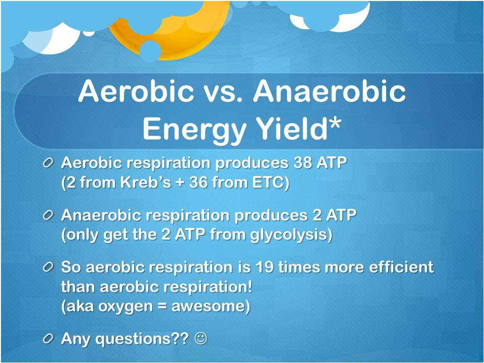 Rate of anaerobic respiration as compared to aerobic respiration?
