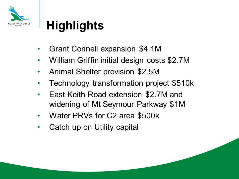 Highlights Grant Connell expansion $4.1M William Griffin initial design costs $2.7M Animal Shelter provision $2.5M Technology transformation project $510k East Keith Road extension $2.7M and widening of Mt Seymour Parkway $1M Water PRVs for C2 area $500k Catch up on Utility capital