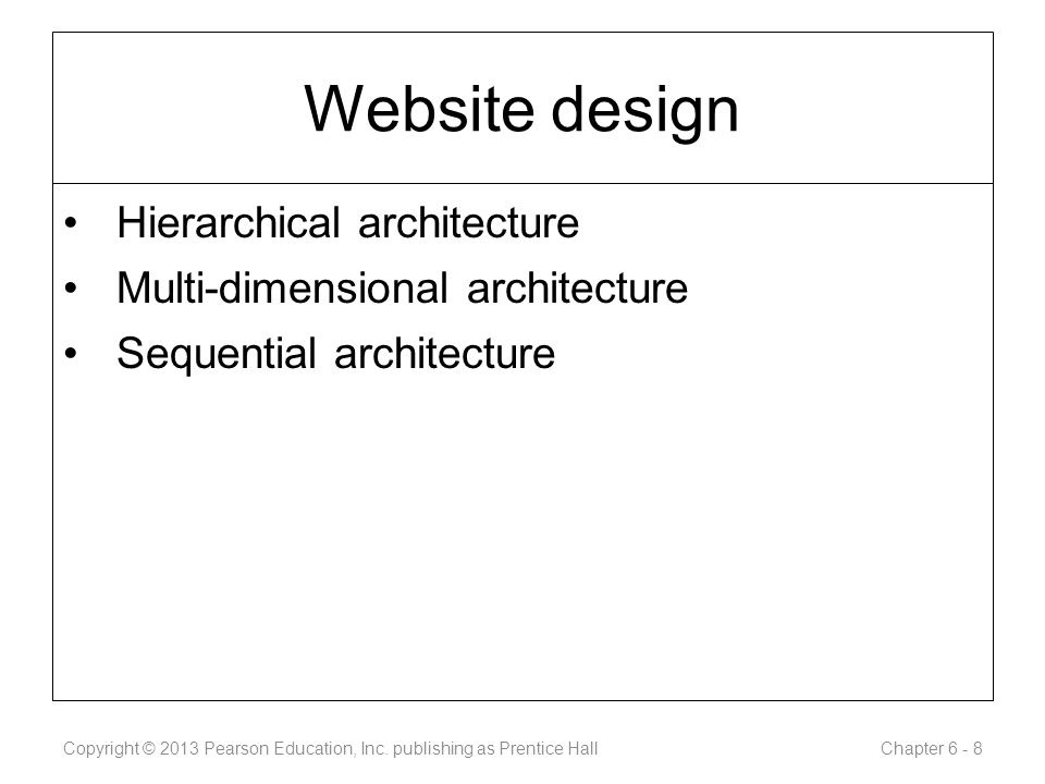 Website design Hierarchical architecture Multi-dimensional architecture Sequential architecture Copyright © 2013 Pearson Education, Inc.