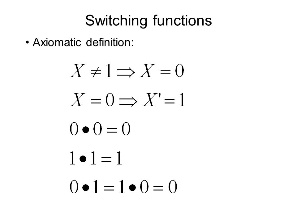 Switching functions Axiomatic definition: