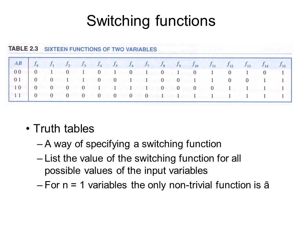 Truth tables –A way of specifying a switching function –List the value of the switching function for all possible values of the input variables –For n = 1 variables the only non-trivial function is ā