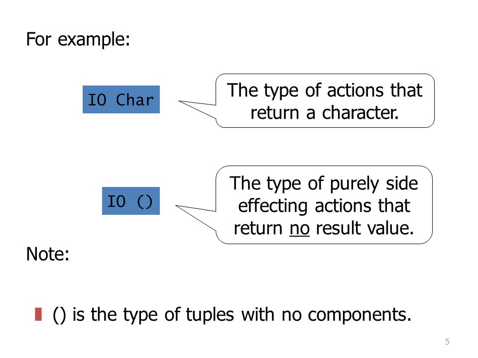5 For example: IO Char IO () The type of actions that return a character.