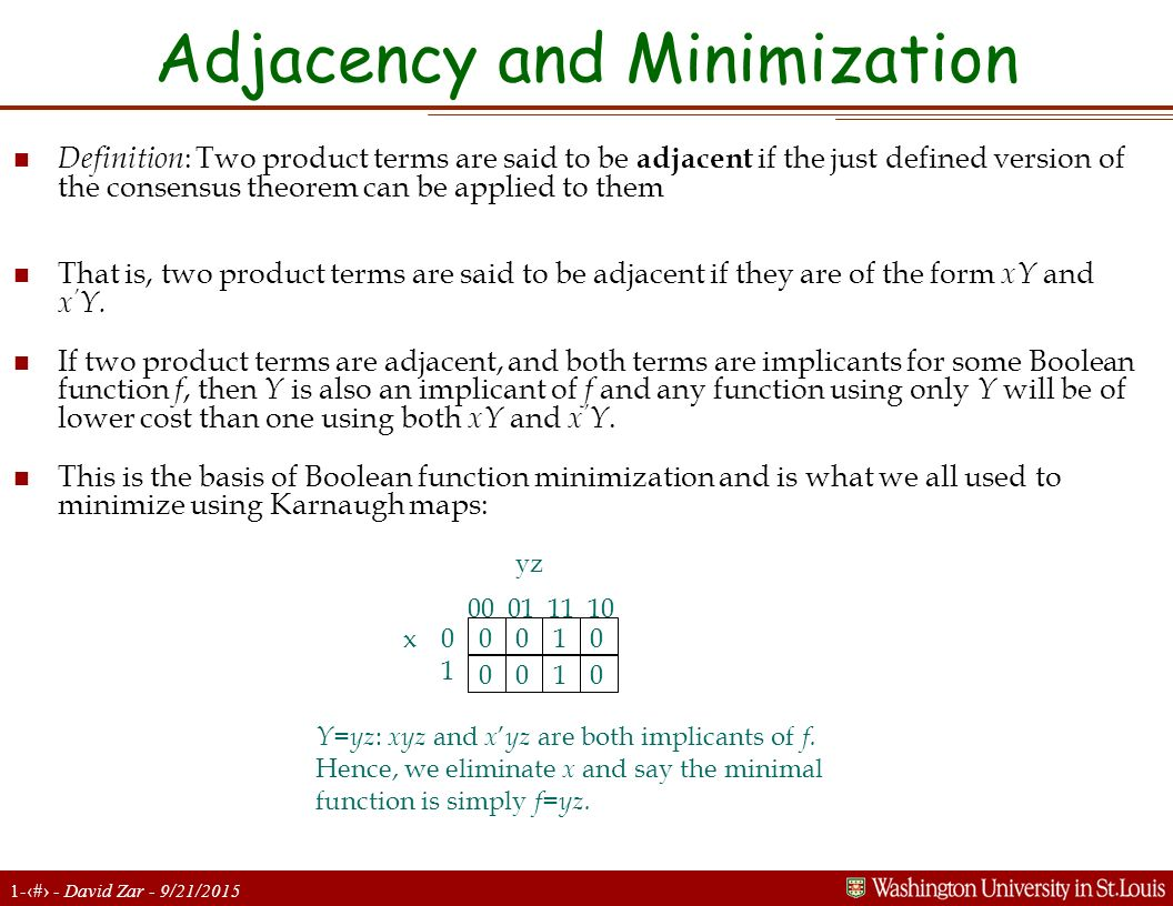 1-8 - David Zar - 9/21/2015 Adjacency and Minimization n Definition : Two product terms are said to be adjacent if the just defined version of the consensus theorem can be applied to them n That is, two product terms are said to be adjacent if they are of the form xY and x ' Y.