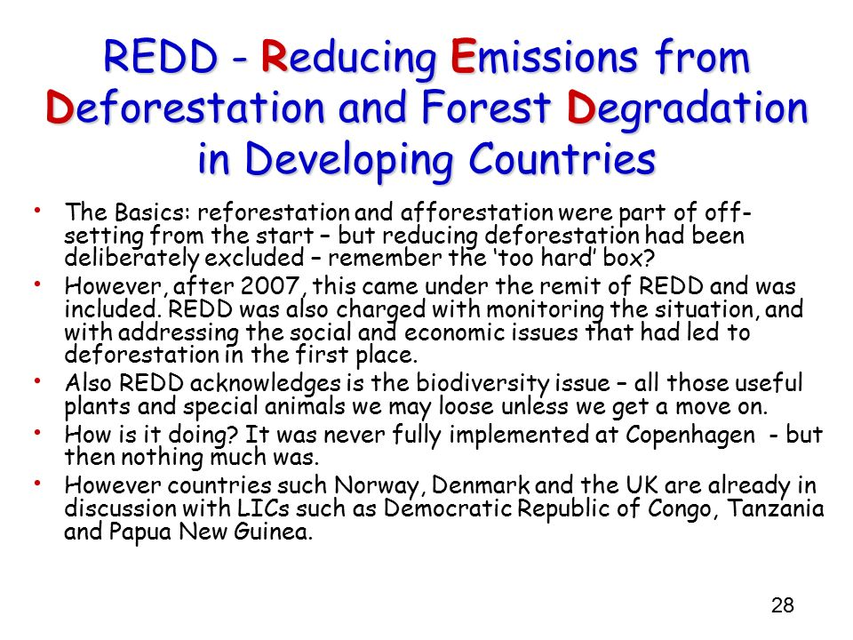 28 REDD - Reducing Emissions from Deforestation and Forest Degradation in Developing Countries The Basics: reforestation and afforestation were part o