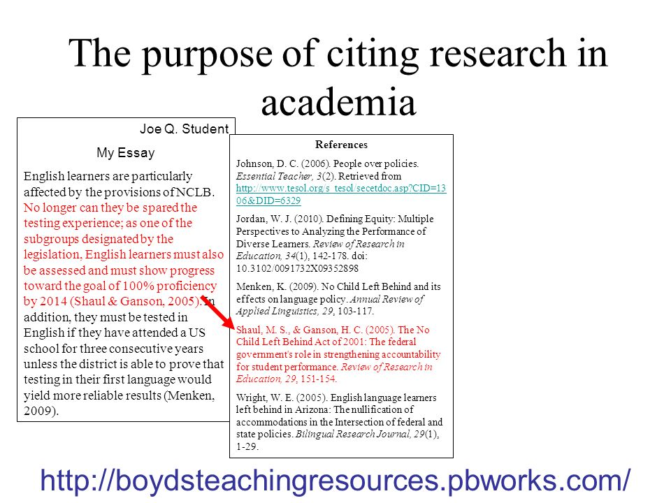 The purpose of citing research in academia Joe Q.