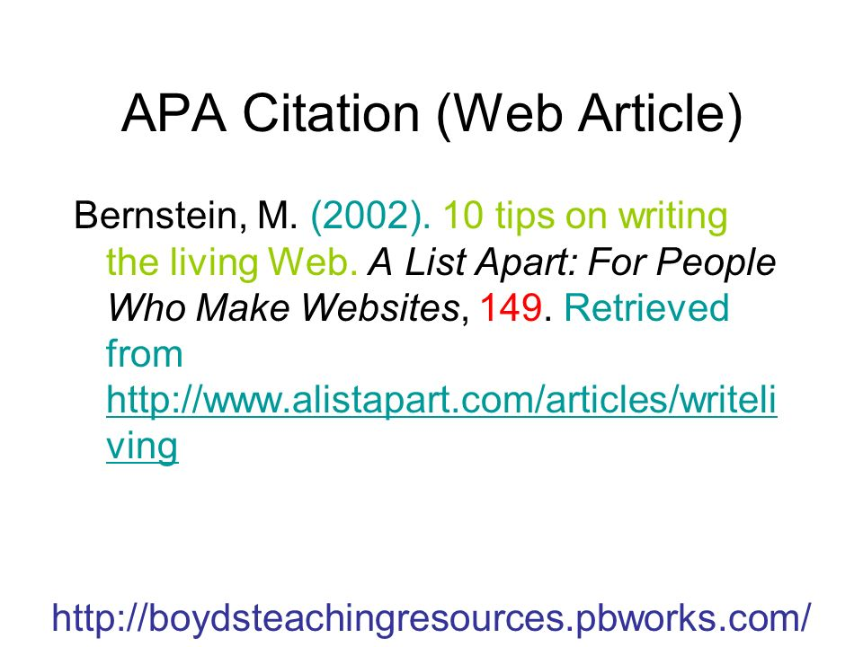 APA Citation (Web Article) Bernstein, M.