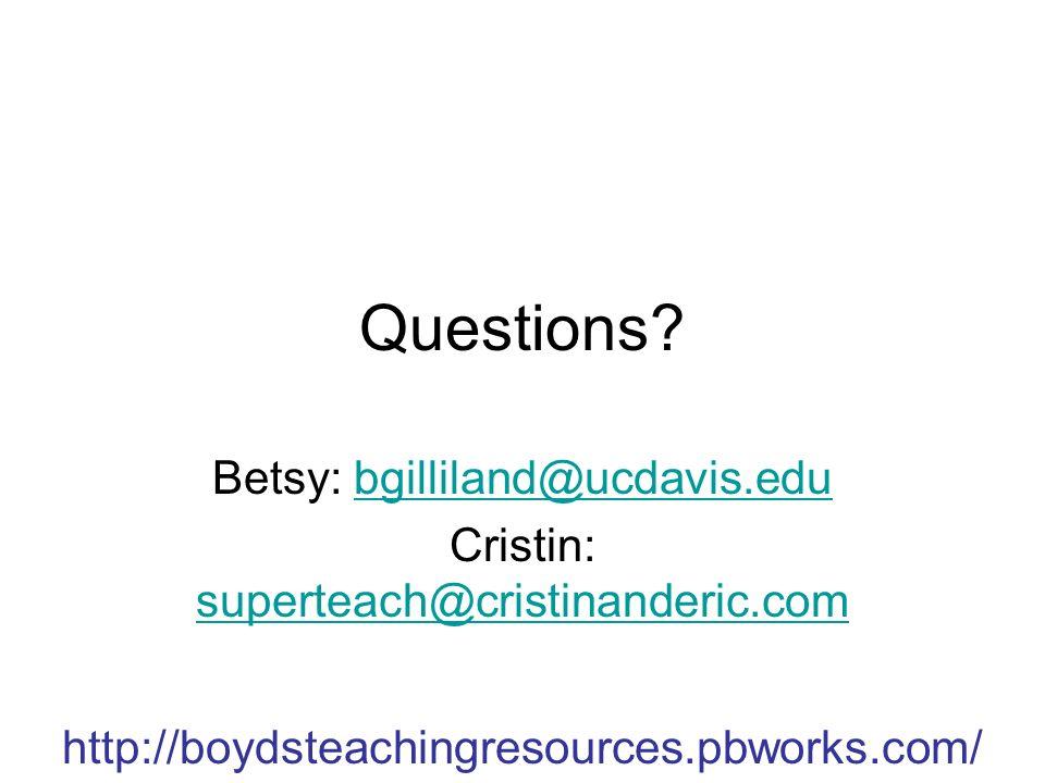 http://boydsteachingresources.pbworks.com/ Questions.