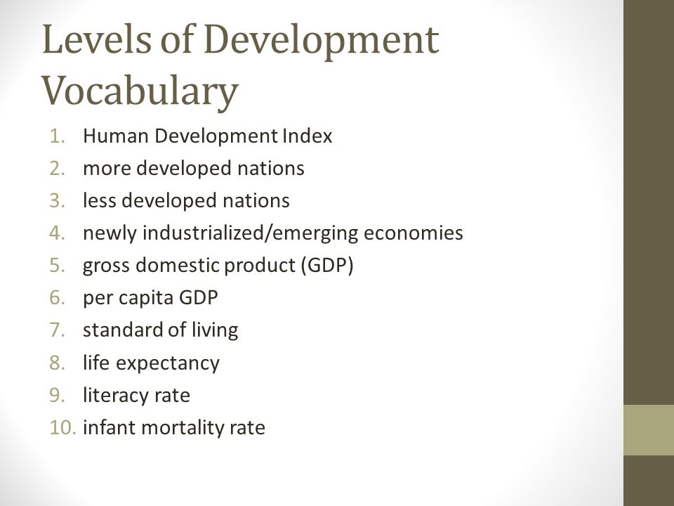 Levels of Development Vocabulary 1.Human Development Index 2.more developed nations 3.less developed nations 4.newly industrialized/emerging economies 5.gross domestic product (GDP) 6.per capita GDP 7.standard of living 8.life expectancy 9.literacy rate 10.infant mortality rate