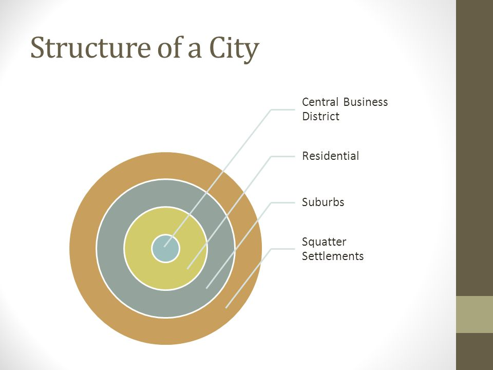 Structure of a City Central Business District Residential Suburbs Squatter Settlements
