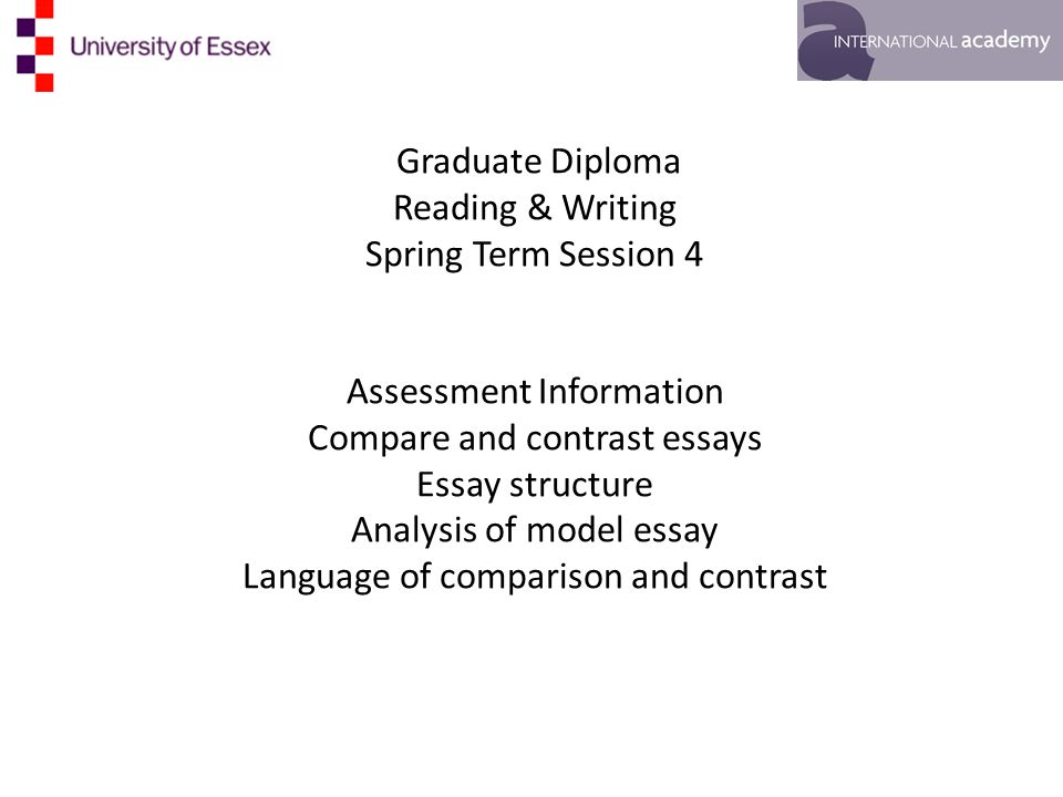graduate diploma reading writing spring term session  1 graduate diploma reading writing spring term session 4 assessment information compare and contrast essays essay structure analysis of model essay